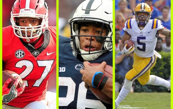 2018 NFL Draft Running Back Prospects Nick Chubb, Saquon Barkley, Derrius Guice [(Nick Chubb photo credit athlonspoets.com), (Saquon Barkley photo credit draftbreakdown.com), (Derrius Guice photo credit Advocate staff HILARY SCHEINUK)].