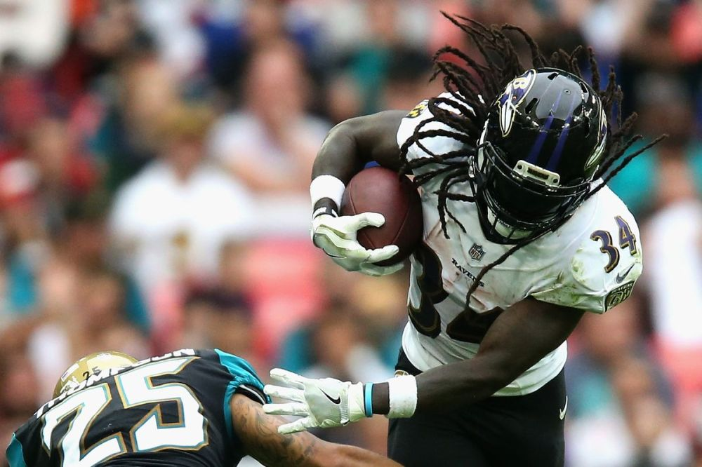 Fantasy Football Running Back #1 Sleeper Alex Collins. Photo by Alex Pantling/Getty Images