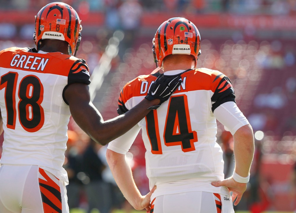 Fantasy Football Stack AJ Green and Andy Dalton (photo credit: Kim Klement, USA Today Sports).