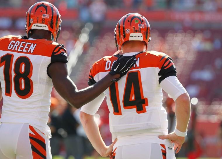 Fantasy Football Stack AJ Green and Andy Dalton (photo credit: Kim Klement, USA Today Sports).